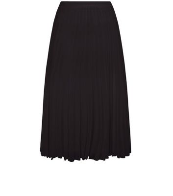 Gonna  donna Black Chiffon Pleated Midi Skirt