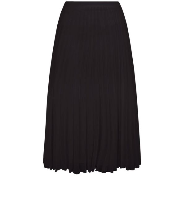 Black Chiffon Pleated Midi Skirt