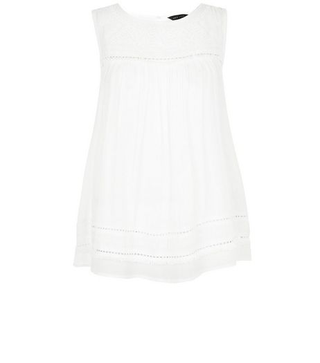 Cream Embroidered Panel Fray Trim Sleeveless Top  | New Look