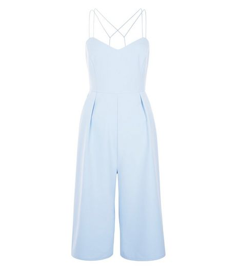 Light Blue Strappy Culotte Jumpsuit  | New Look