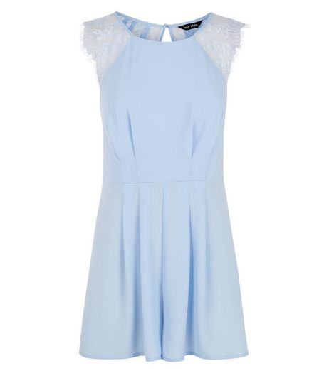 Blue Lace Panel Playsuit | New Look