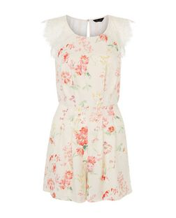 Pink Floral Print Lace Panel Playsuit  | New Look