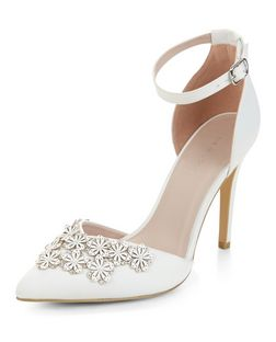 White Bridal Floral Embellished Pointed Ankle Strap Heels  | New Look