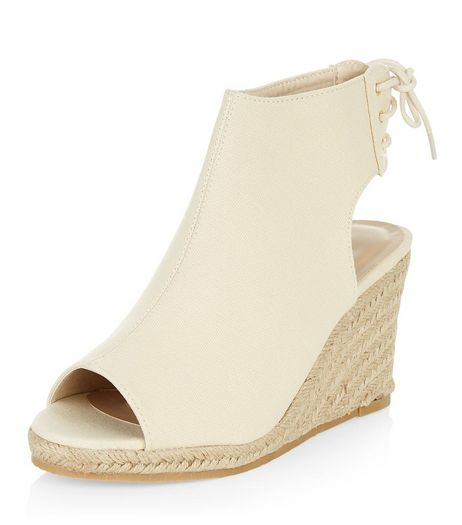 Cream Tie Back Peep Toe Espadrille Wedges  | New Look
