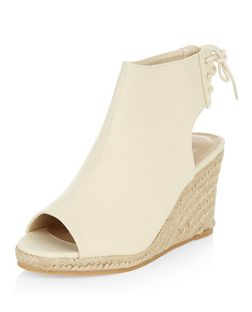 Cream Tie Back Peeptoe Espadrille Wedges  | New Look