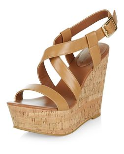 Tan Leather-Look Cross Strap Wedges | New Look