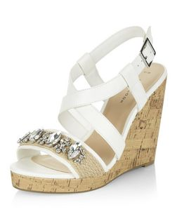 White Gem Embellished Cross Strap Wedge Sandals  | New Look
