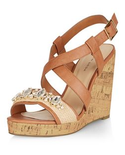 Tan Gem Embellished Cross Strap Wedge Sandals  | New Look