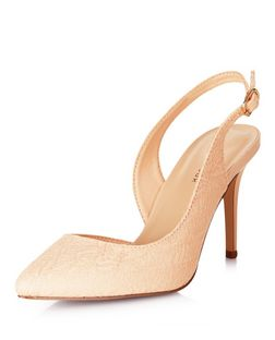 Peach Lace Cut Out Side Sling Back Pointed Heels  | New Look