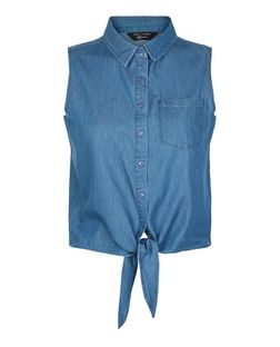 Teens Blue Denim Sleeveless Tie Front Shirt | New Look