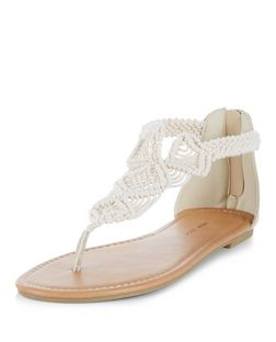 Wide Fit Cream Crochet Sandals  | New Look