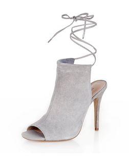 Grey Suede Lace Up Peep Toe Heels | New Look