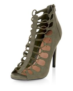 Khaki Suedette Elasticated Strap Heels  | New Look