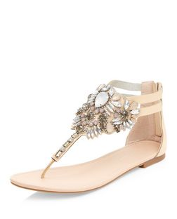 Wide Fit Stone Gem Stone T-Bar Sandals  | New Look