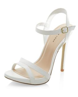 White Textured Ankle Strap Heels  | New Look
