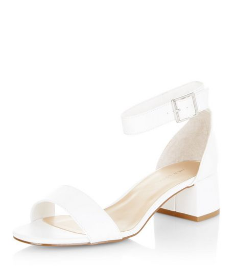 White Ankle Strap Block Heel Sandals  | New Look