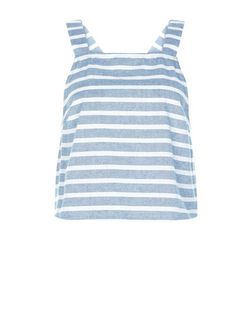 Heartbreak Blue Stripe Button Back Crop Top | New Look