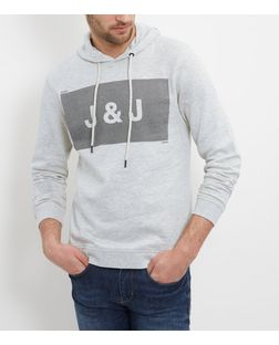 Jack and Jones White Logo Hoodie  | New Look