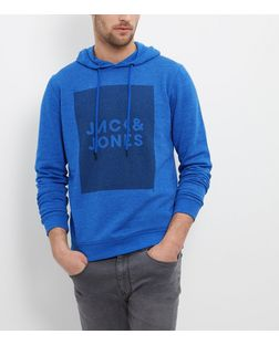 Jack and Jones Blue Logo Hoodie  | New Look