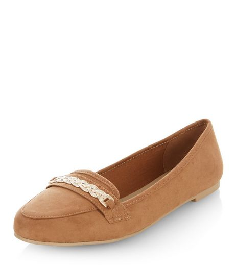 Tan Chain Trim Loafers  | New Look