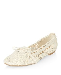 Teens Cream Crochet Tie Front Ballet Pumps  | New Look
