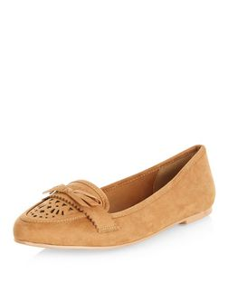 Teens Tan Suedette Laser Cut Out Moccasins | New Look