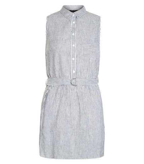Teens Grey Stripe D-Ring Belted Shirt Dress | New Look