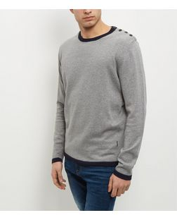 Jack and Jones Light Grey Crew Neck Jumper  | New Look