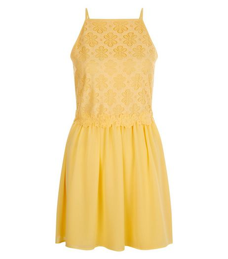 Teens Yellow Daisy Lace High Neck Dress | New Look