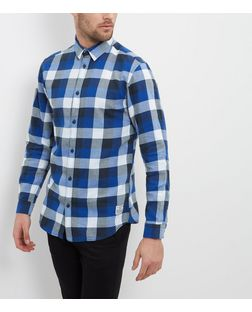 Jack and Jones Blue Check Long Sleeve Shirt  | New Look