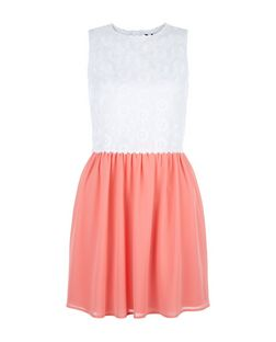 Teens Shell Pink Contrast Daisy Crochet Dress | New Look
