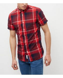 Jack and Jones Red Check Short Sleeve Shirt | New Look