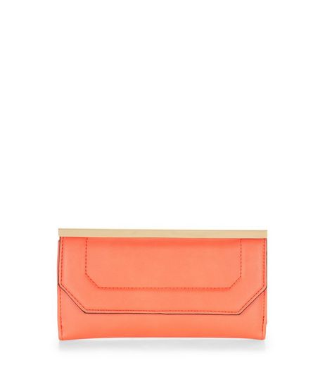 Orange Geo Metal Bar Purse  | New Look