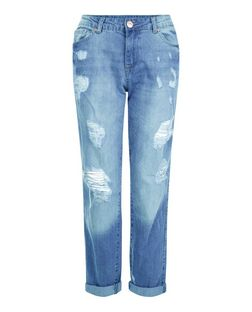 Parisian Blue Ripped Knee Boyfriend Jeans | New Look