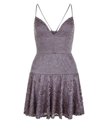 John Zack Grey Lace V Neck Skater Dress | New Look