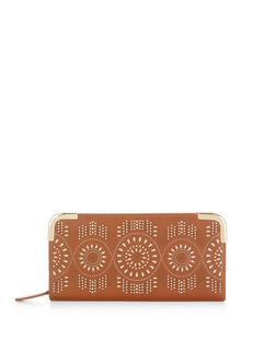 Tan Laser Cut Out Zip Around Purse  | New Look