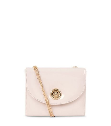 Light Pink Patent Box Shoulder Bag  | New Look
