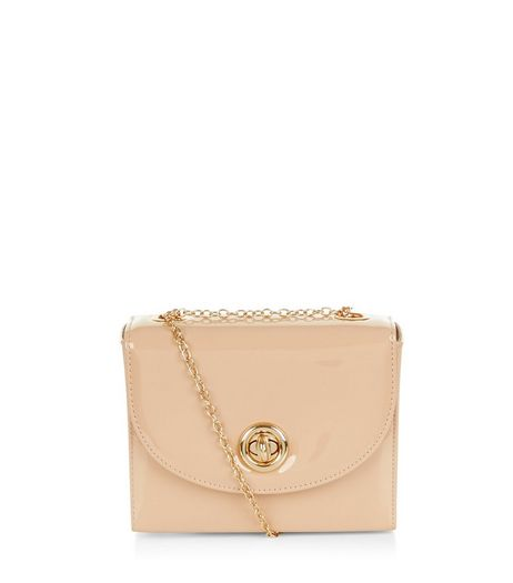 Stone Patent Box Shoulder Bag  | New Look