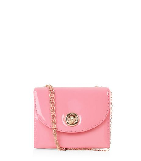 Pink Patent Box Shoulder Bag  | New Look