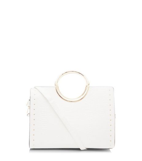 White Structured Metal Circle Handle Tote Bag  | New Look
