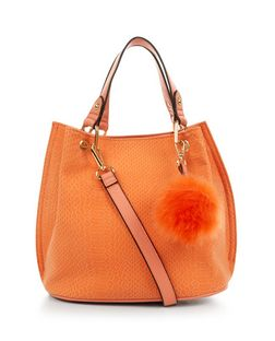 Orange Snakeskin Textured Pom Pom Trim Duffle Bag | New Look