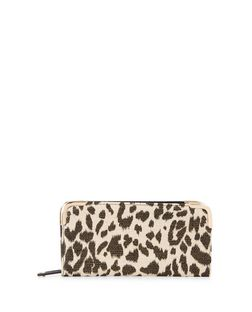 Stone Canvas Leopard Print Zip Around Purse  | New Look