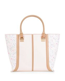 Stone Floral Print Panel Tote Bag  | New Look