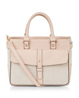 Stone Woven Panel Pocket Front Shoulder Bag  | New Look