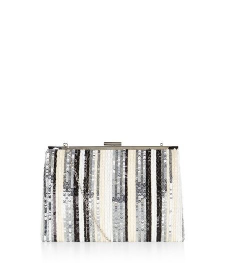 Silver Sequin Stripe Frame Clutch  | New Look