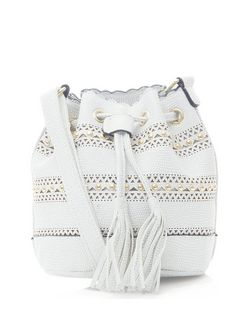 White Laser Cut Out Studded Trim Duffle Bag   | New Look