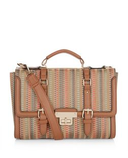 Tan Woven Straw Stripe Satchel  | New Look