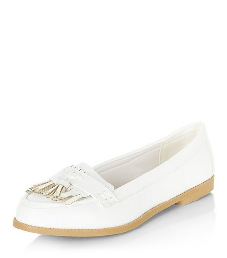 White Patent Fringe Loafers  | New Look