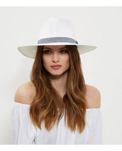 White Ribbon Trim Fedora | New Look