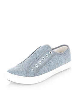 Blue Sparkle Laceless Plimsolls  | New Look